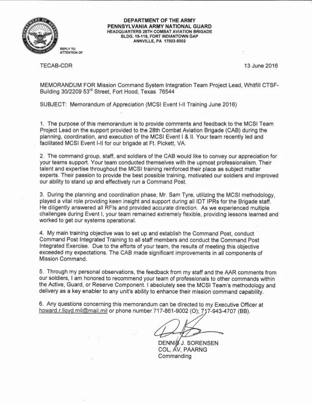 28 CAB CPSIT Memorandum Of Appreciation
