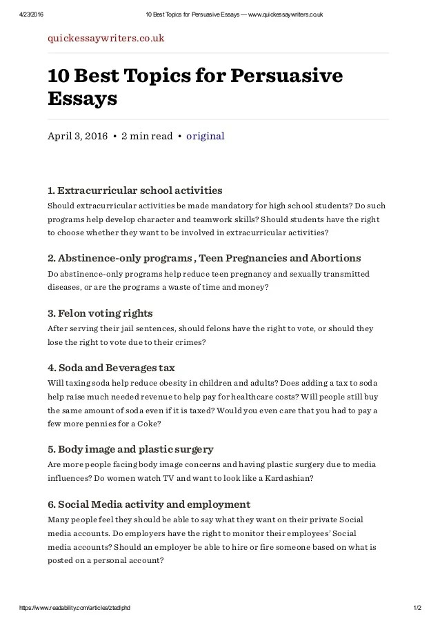 interesting topics for persuasive essays