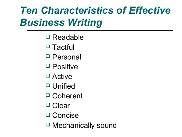 Ten Characteristics In Effective Written Communication