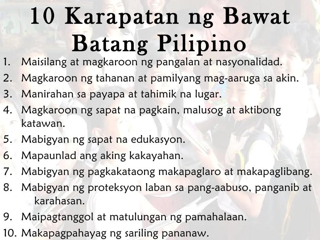 10 Karapatan Ng Bawat Batang Pilipino