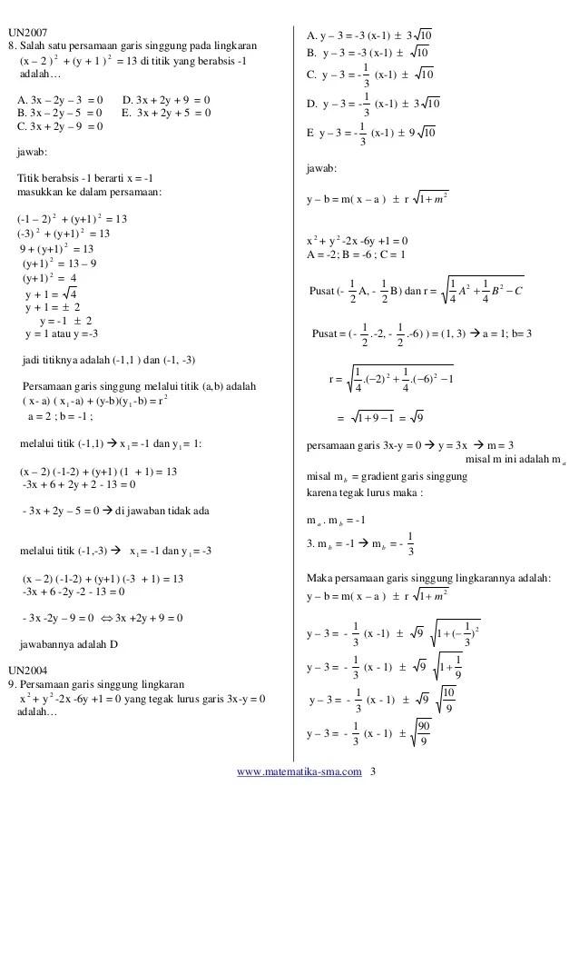 Contoh Soal Lingkaran Kelas 11 : contoh, lingkaran, kelas, Contoh, Pembahasan, Persamaan, Lingkaran, Kelas, Terbaru