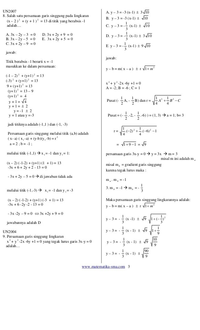 Soal Persamaan Lingkaran : persamaan, lingkaran, Contoh, Pembahasan, Persamaan, Lingkaran, Kelas, Terbaru