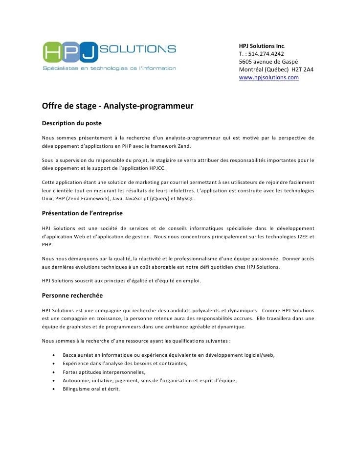 image modele cv analyste programmeur lettre de presentation