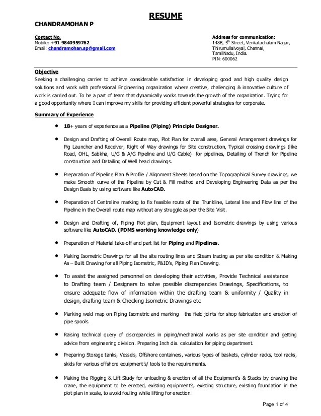 Resume For Pipeline Designer