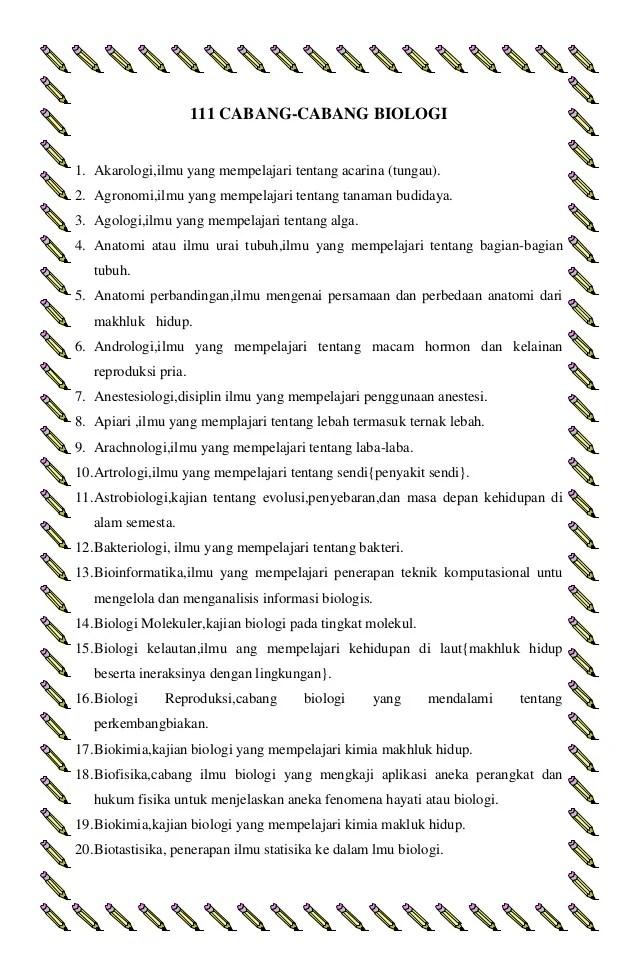 10 Cabang Biologi : cabang, biologi, CABANG-CABANG, BIOLOGI