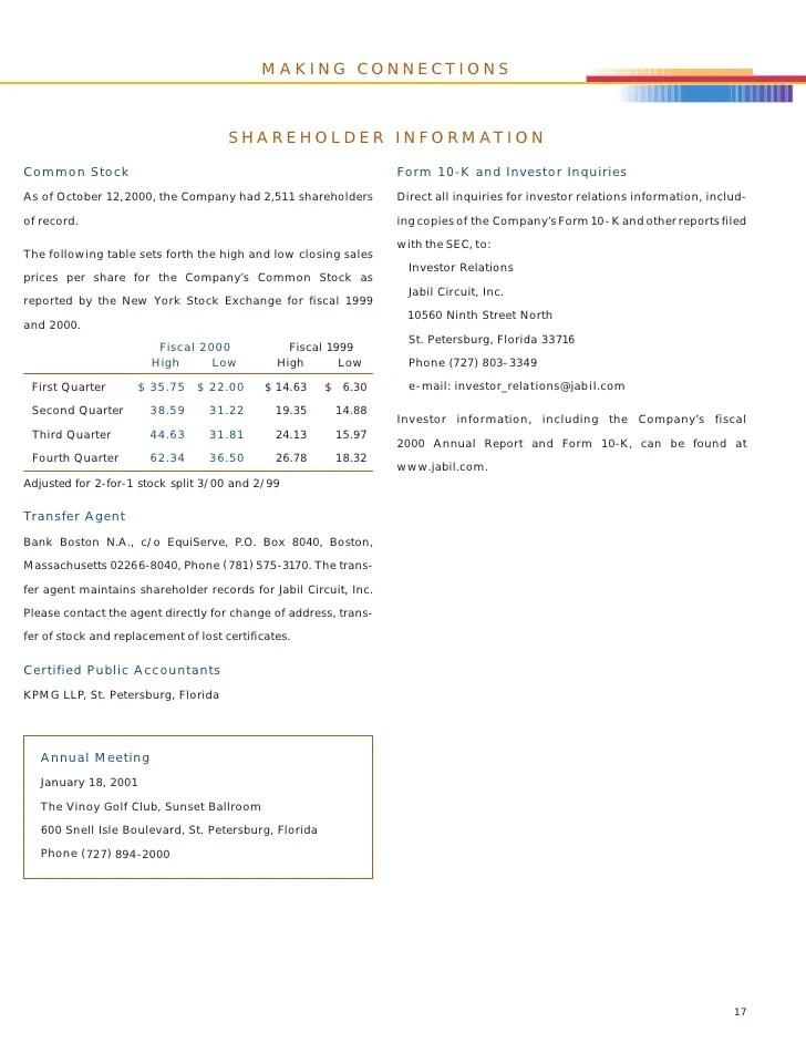 Jabil Circuit Annual Report 2000
