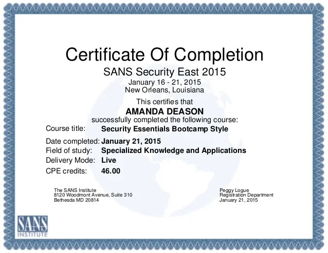 Certificate GIAC Security Essentials GSEC