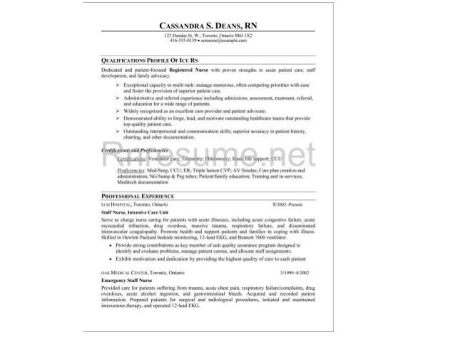 ICU RN Resume Sample