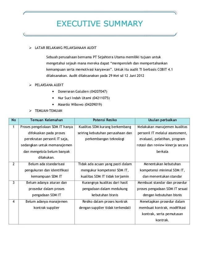 Contoh Executive Summary Laporan Contoh Ii Cute766