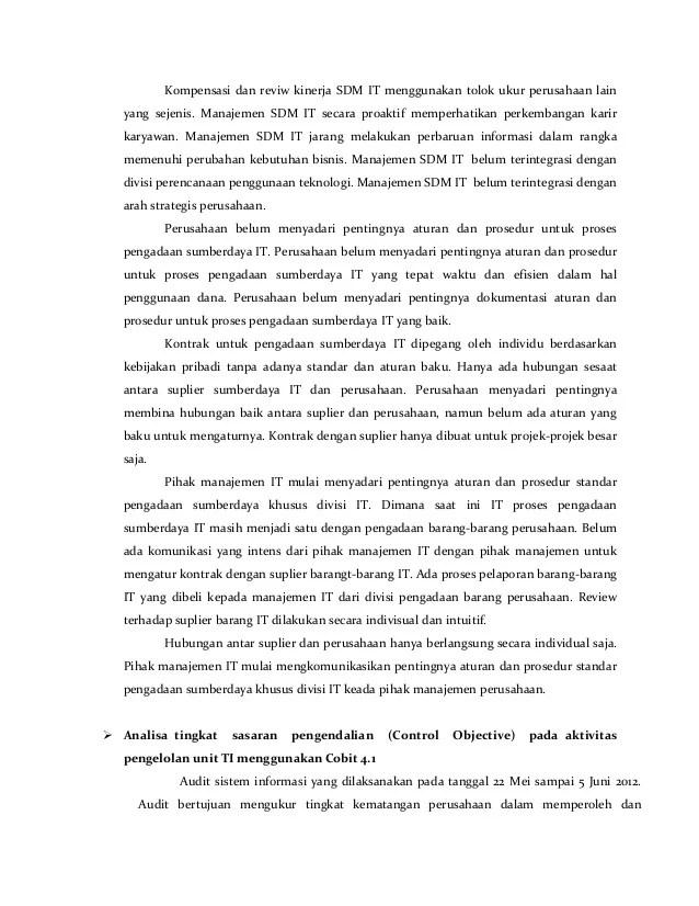 Contoh Laporan Audit Sistem Informasi Pada Perusahaan Seputar Laporan Resep Kuini