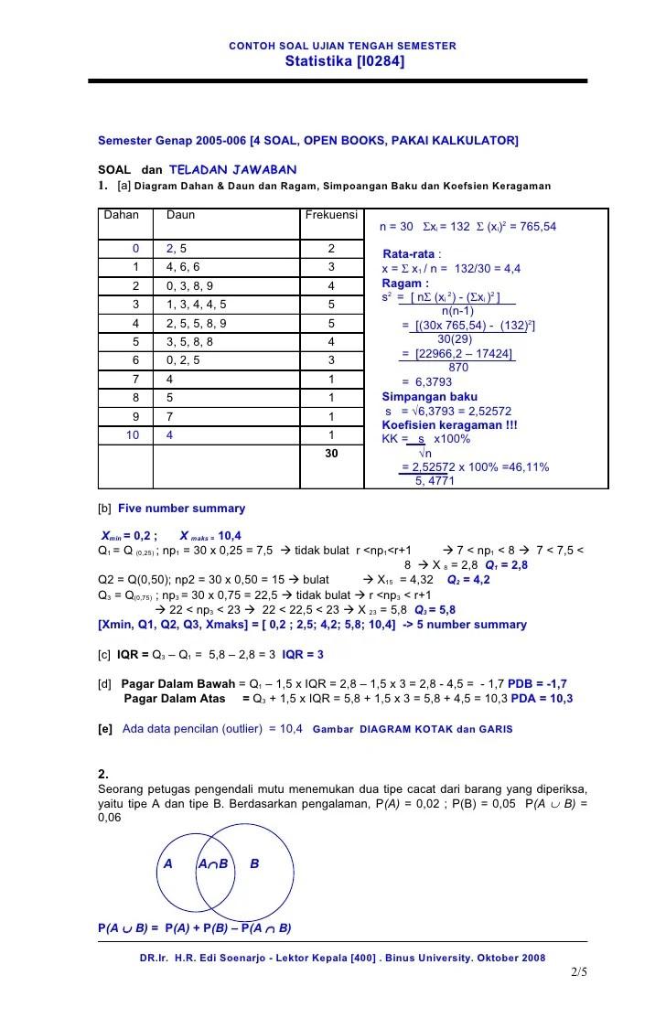 Sebuah badan sertifikasi kelompok pengguna komputer nasional telah melakukan uji kompetensi management lembaga. 12 Contoh Soal Uts Statistika