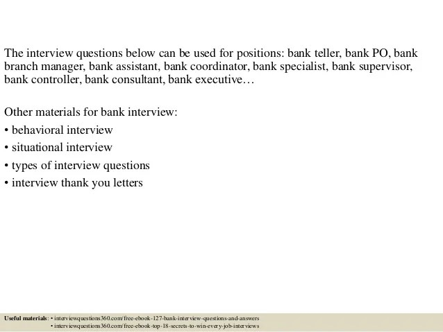 Bank Teller Supervisor Interview Questions - Resume Examples