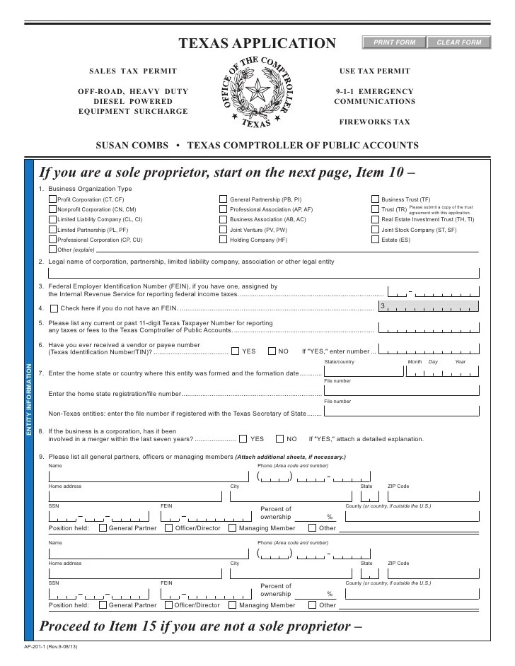 Texas Fireworks Tax Forms