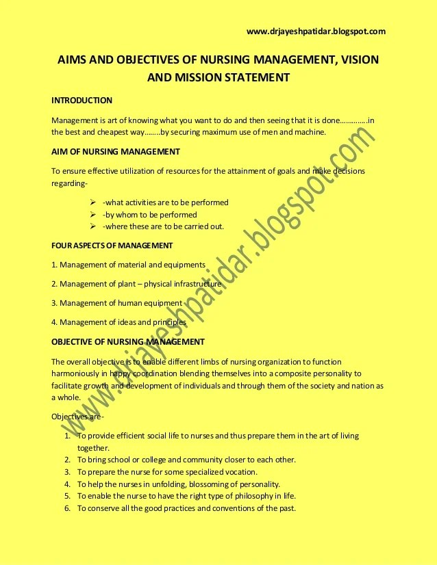 Aims And Objectives Of Nursing Management Vision And
