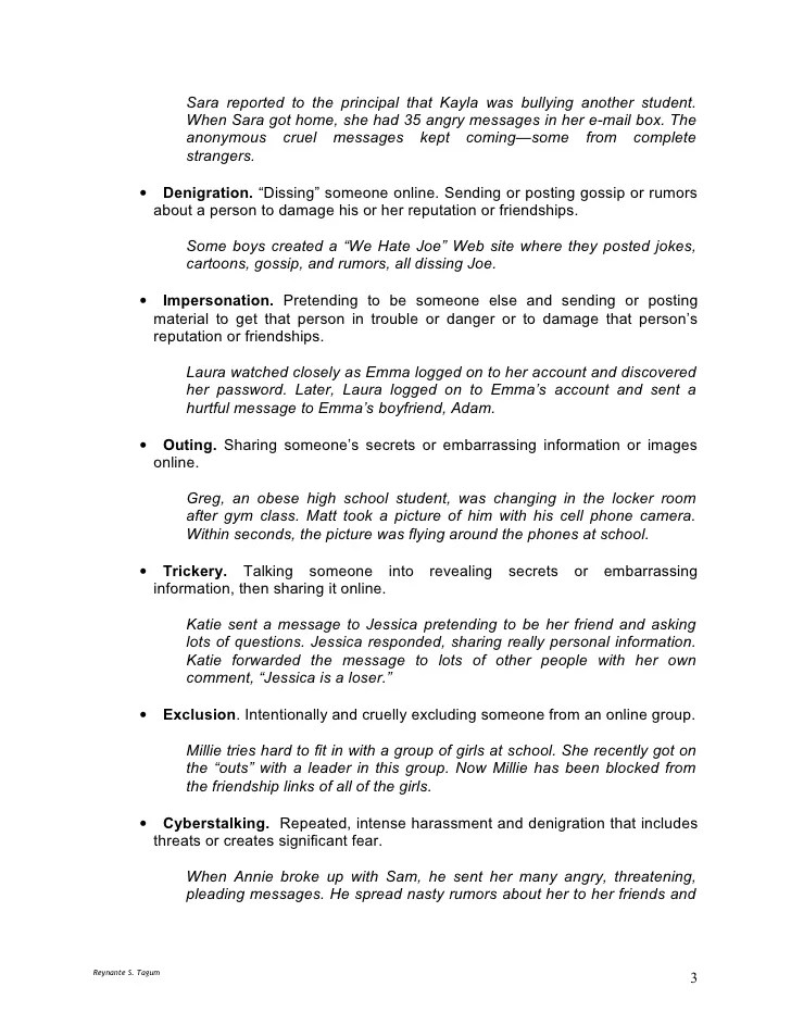 Cyber Bullying Essay Bullying Thesis Research Paper On Cyber
