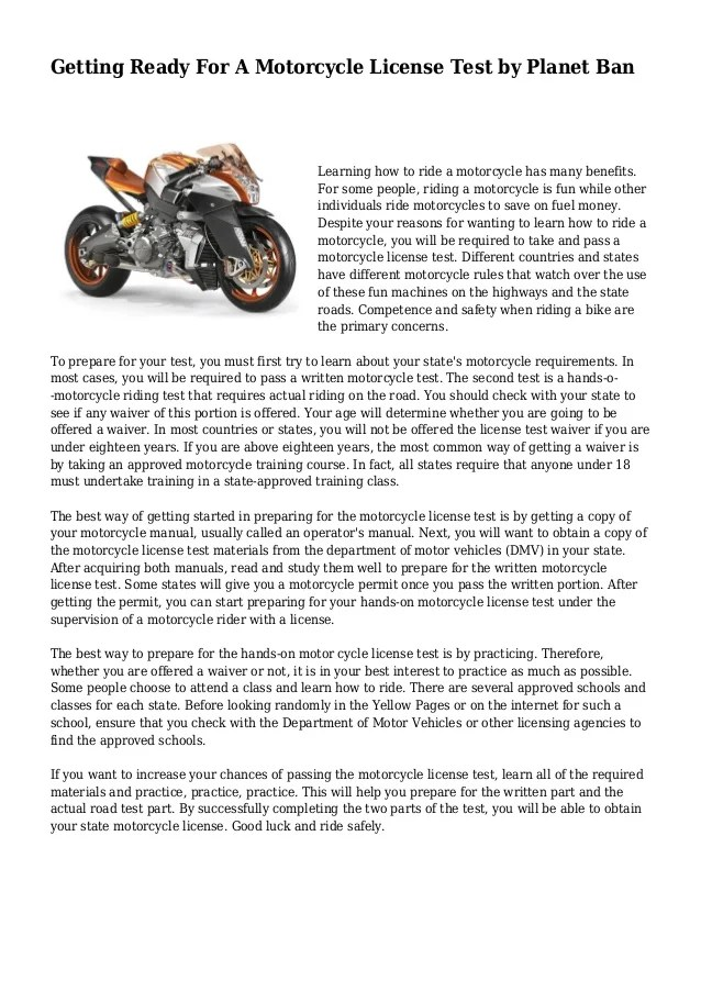 Motorcycle License Test By Planet Ban