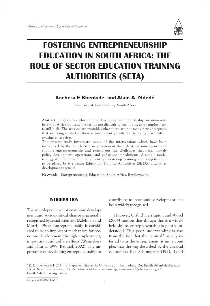 Entrepreneurship Education In Seta