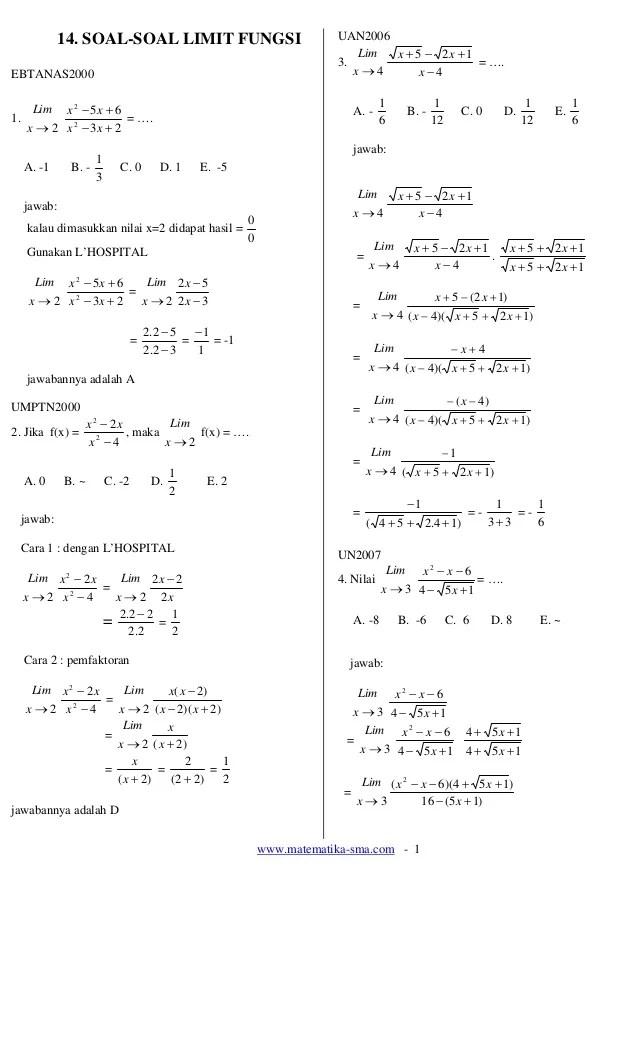 Contoh Soal Limit Fungsi : contoh, limit, fungsi, Soal-soal, Limit, Fungsi