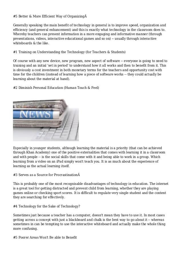 Horseshoe Classroom Design Advantages And Disadvantages : Essay on technology advantages and disadvantages
