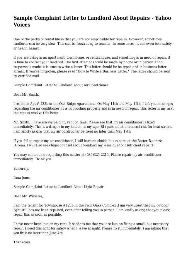 Sample Complaint Letter to Landlord About Repairs  Yahoo