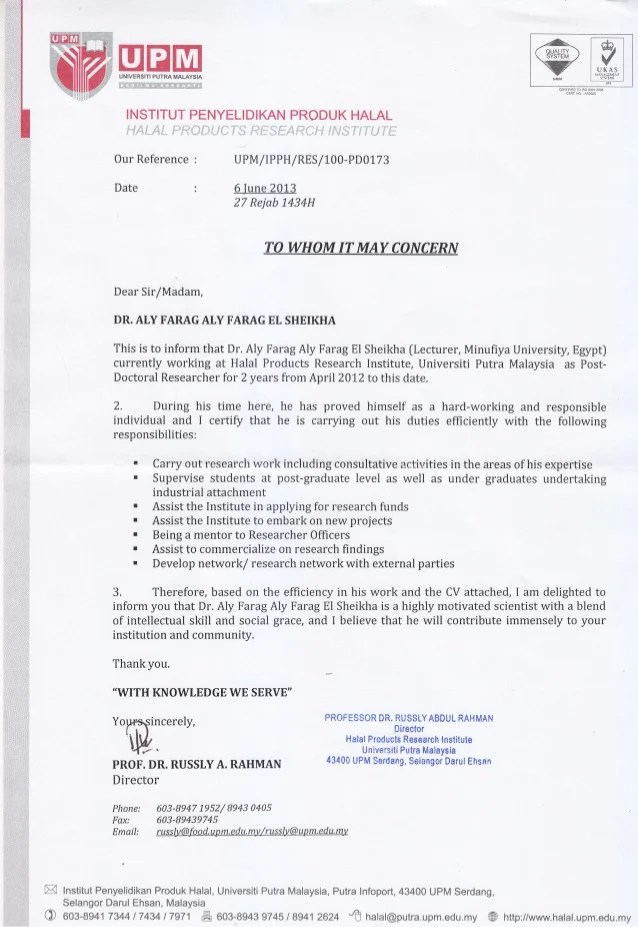 Recommendation Letter Director Of Halal Institute Malaysia