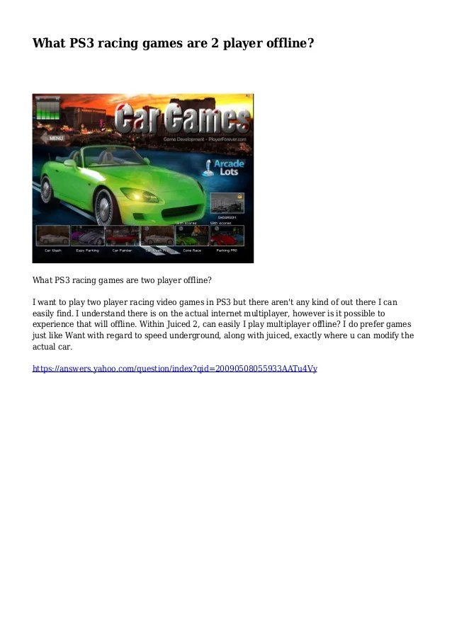 What Ps3 Racing Games Are 2 Player Offline