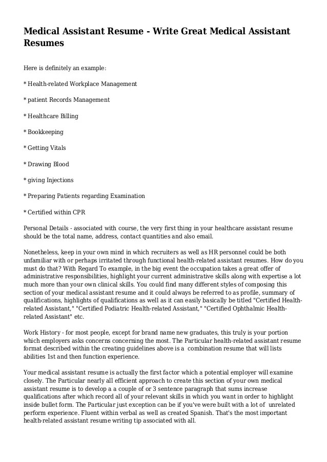 Medical Assistant Resume Write Great Medical Assistant Resumes