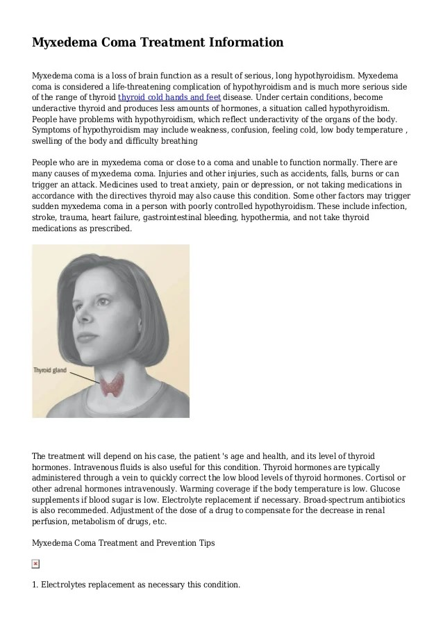 Myxedema Coma Treatment Information