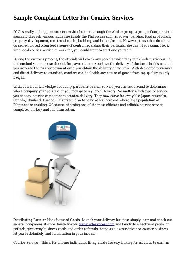 Sample Complaint Letter For Courier Services