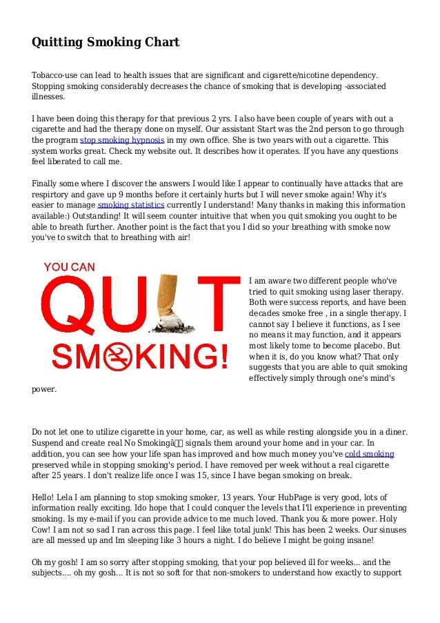 Quitting smoking chart tobacco use can lead to health issues that are significant and cigarette also rh slideshare