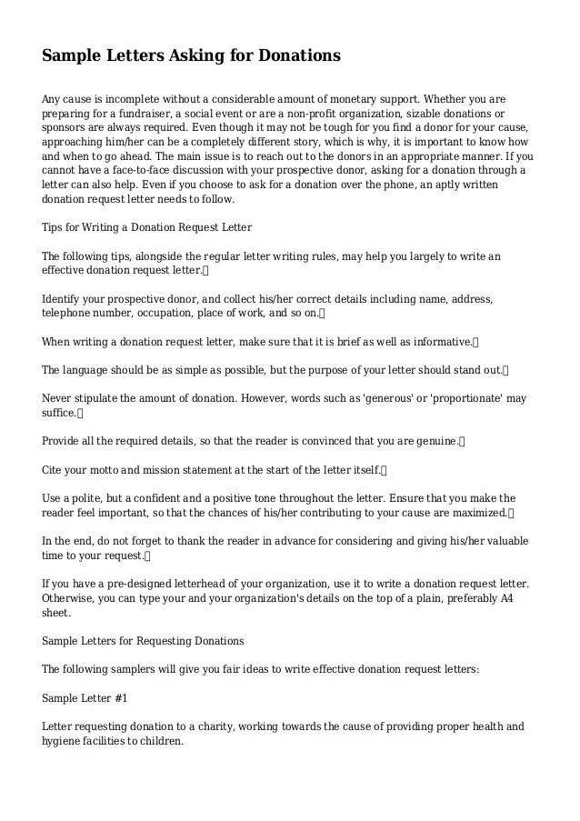 sample letter asking for donations for school