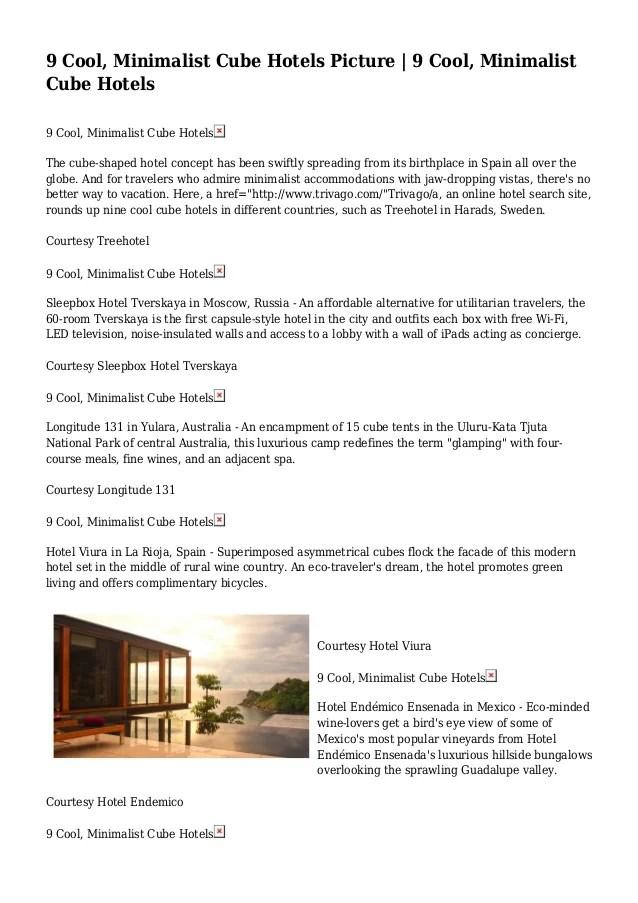 9 Cool Minimalist Cube Hotels Picture 9 Cool Minimalist