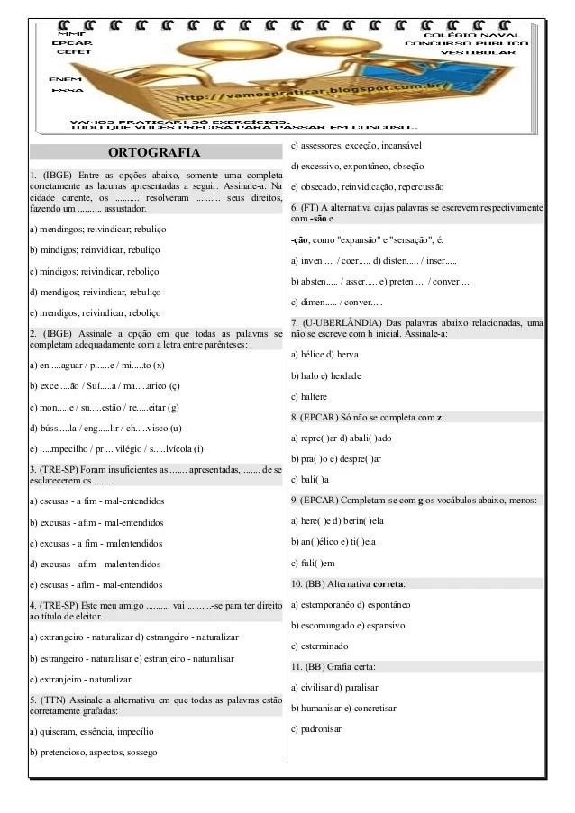 145 EXERCCIOS DE ORTOGRAFIA