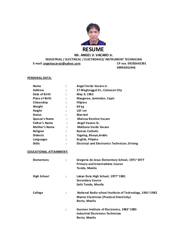Sample Resume For Electrical Engineer In Philippines