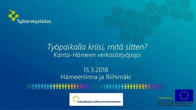 15 3 2018 Kanta Hame Tyhyverkoston Kokoontuminen Ryhmatyodiat