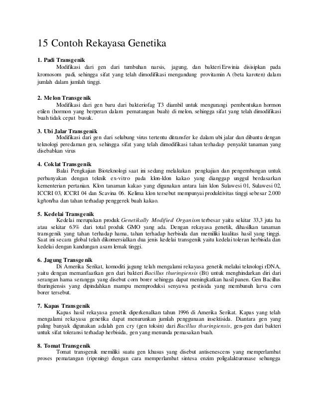 Contoh Tanaman Transgenik : contoh, tanaman, transgenik, Contoh, Rekayasa, Genetika