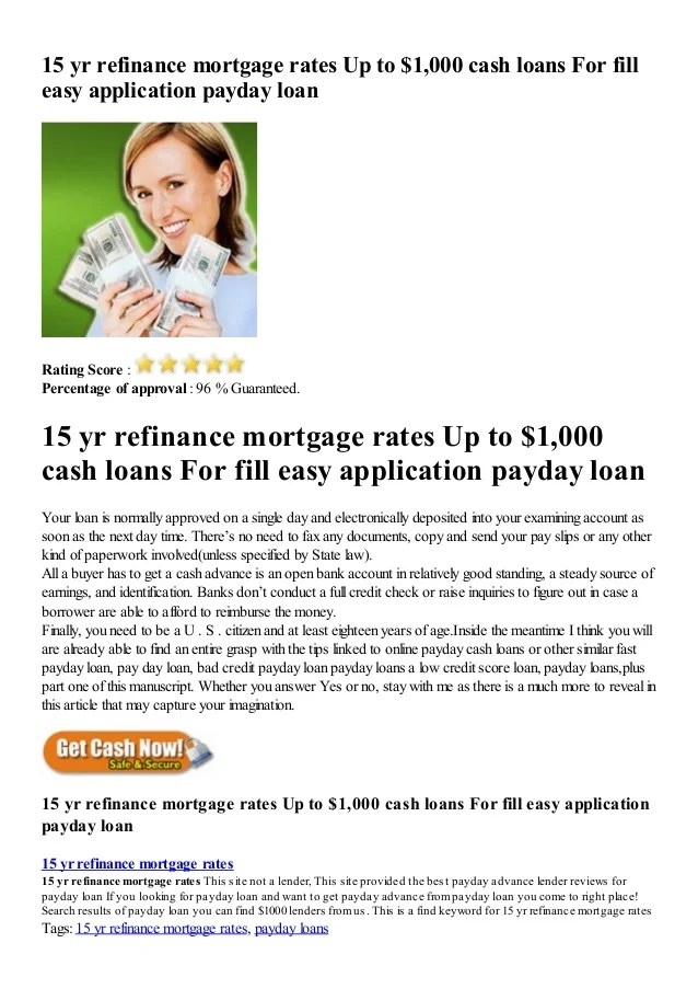 15 Yr Refinance Mortgage Rates Up To 1 000 Cash Loans