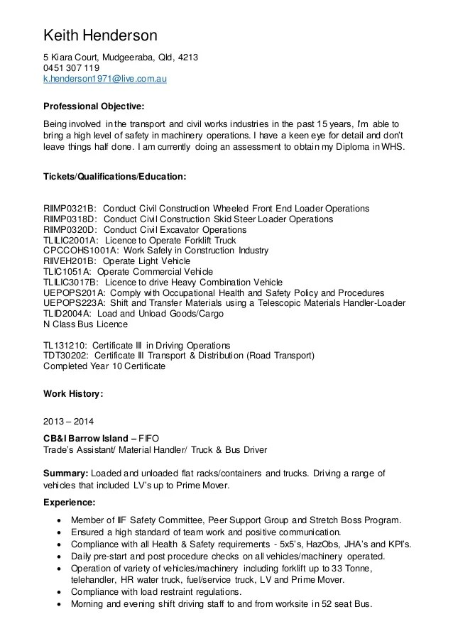 Keith Henderson Mining Resume