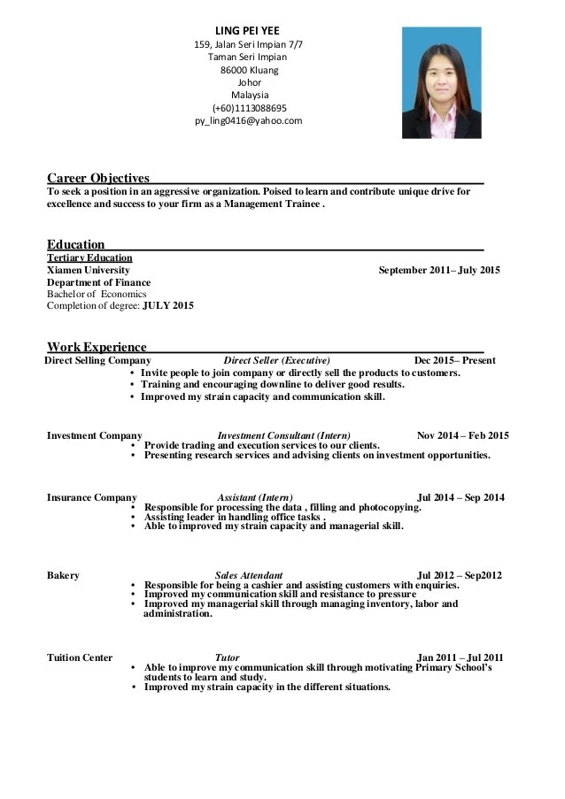 Resume Management Trainee LING PEI YEE