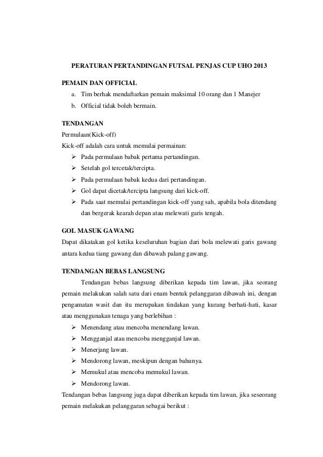 16 Peraturan Permainan Futsal Terbaru Hasil Amandemen FIFA