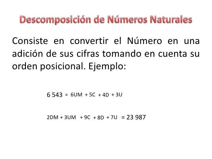 Consiste en convertir el Número en unaadición de sus cifras tomando en cuenta suorden posicional. Ejemplo: 6 543 = 6...