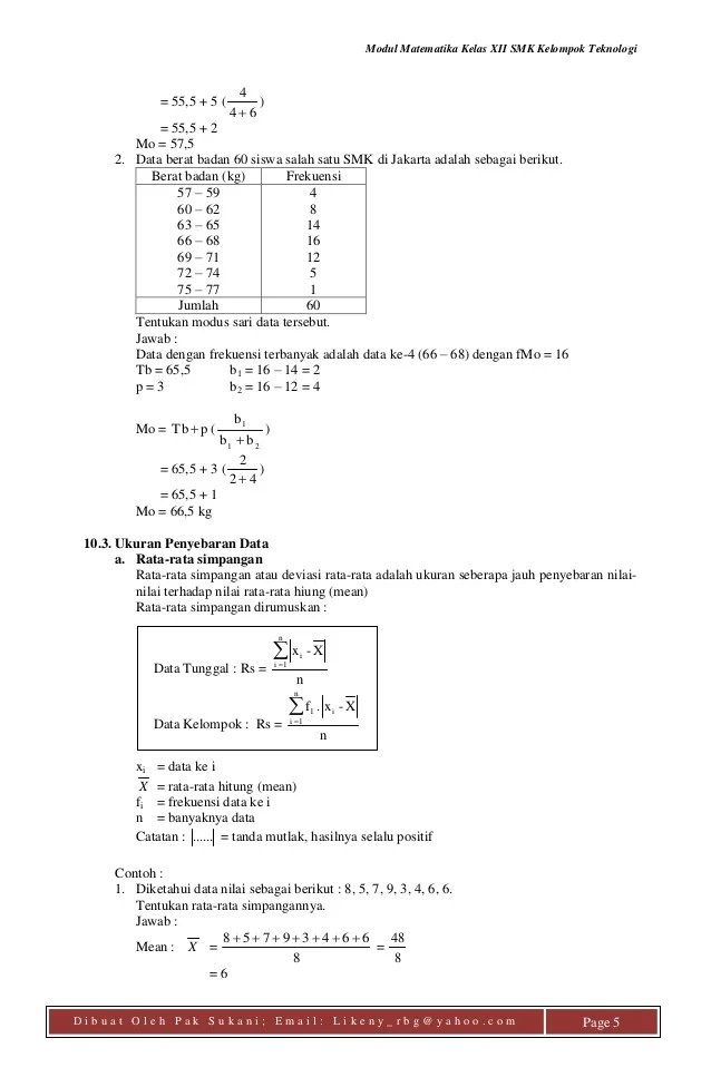 Simpangan Rata Rata Data Kelompok : simpangan, kelompok, Modul, Statistik, Sukani