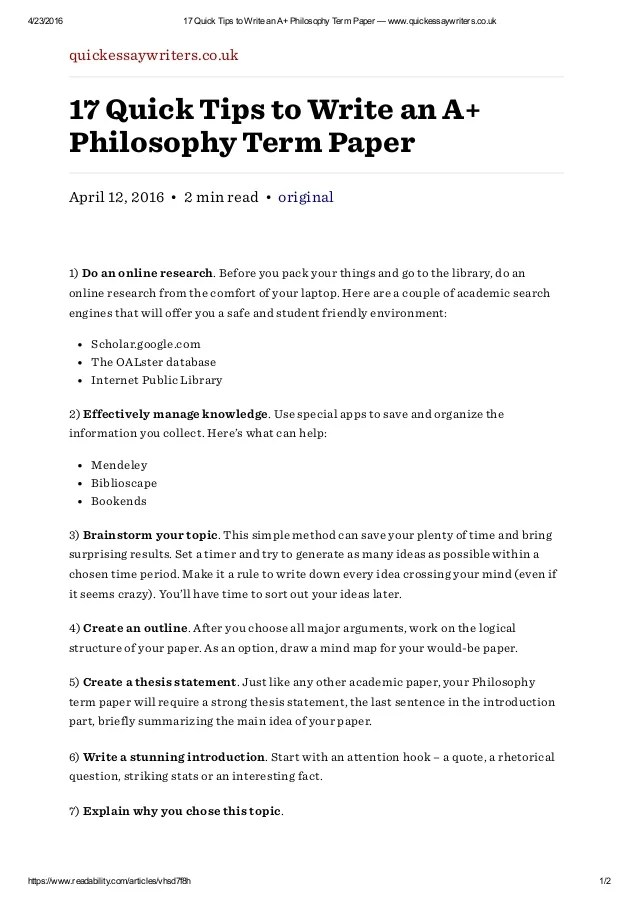 Writing The Philosophy Thesis Modern Language Association Mla