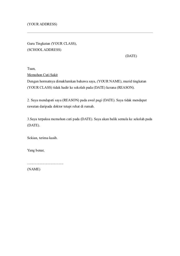 Contoh Surat Rasmi Cuti Sakit Pekerja Surat Ras Cute766