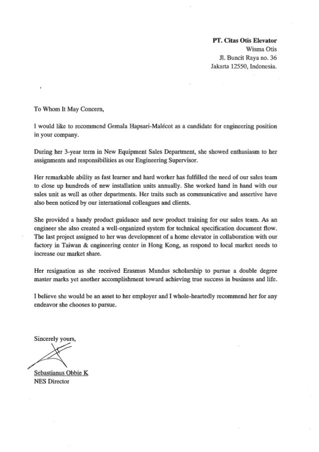 Reference Letter  COE