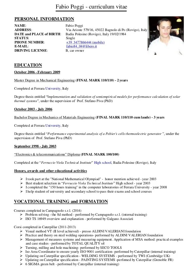 Curriculum Vitae Fabio Poggi English Version 2