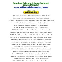 Johnson 115 Outboard Wiring Diagram Sony Xplod Cdx Gt25mpw 1990-2001 Evinrude Service Manual 1 Hp To 300 - P…