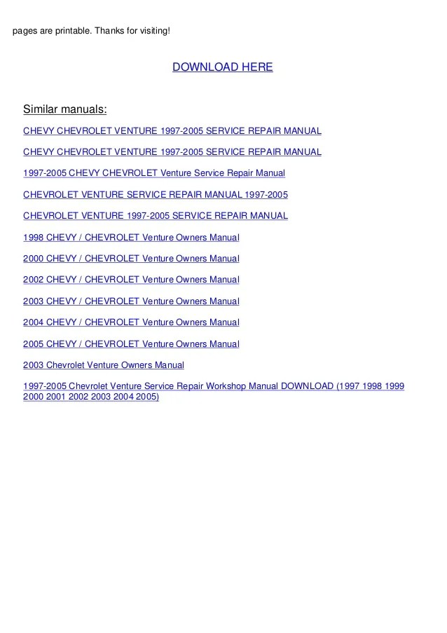 2003 chevrolet venture owners manual expert user guide u2022 rh manualguidestudio today 2001 Chevy Venture Cooling System 2001 Chevy Venture Van