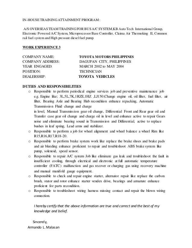 CV As Maintenance Technician Armando Malasan