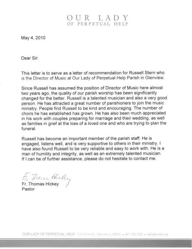 letter of recommendation for church member